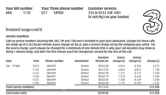 Real Example of Bill showing Access Charge - applied by Three Mobile